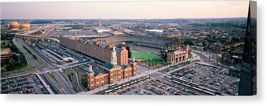 Baltimore Orioles Canvas Print - Aerial View Of A Baseball Field by Panoramic Images