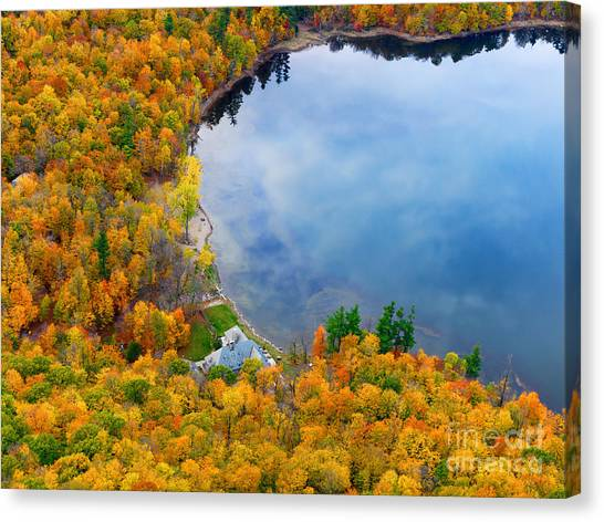 Aerial View Of A Canadian Lake In The Fall Season Canvas Print
