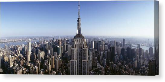 Empire State Building Canvas Print - Aerial View Of A Cityscape, Empire by Panoramic Images