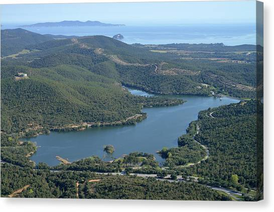 Mimosa Canvas Print - Aerial View Of An Artificial Lake by Sami Sarkis
