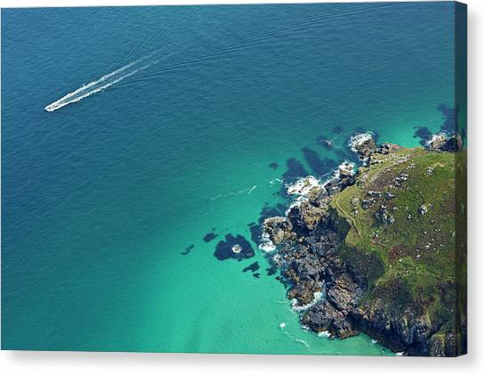 St Ives Canvas Print - Aerial View Of Boat Off Cornish by Allan Baxter