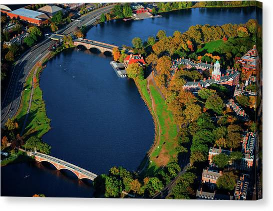 Harvard University Canvas Print - Aerial View Of Charles River With Views by Panoramic Images
