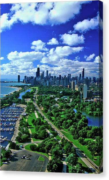 Hancock Building Canvas Print - Aerial View Of Chicago, Illinois by Panoramic Images
