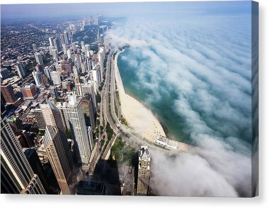 Aerial View Of Chicago Lakeshore With Canvas Print