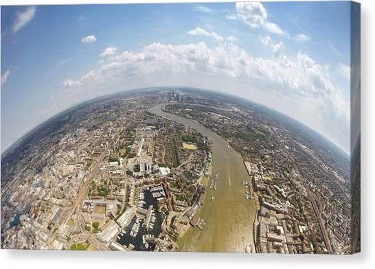 Aerial View Of City, London, England, Uk Canvas Print by Mattscutt