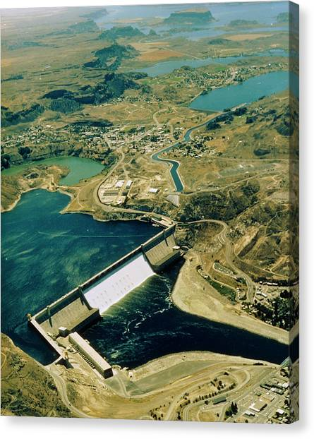 Franklin D. Roosevelt Canvas Print - Aerial View Of Grand Coulee Dam by Us Bureau Of Reclamation/ Science Photo Library
