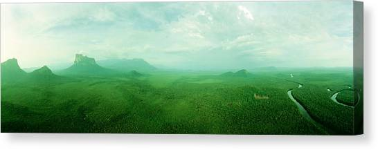 Venezuelan Canvas Print - Aerial View Of Green Misty Landscape by Panoramic Images