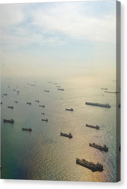 Aerial View Of Industrial Ships Canvas Print by Rachel Abygail / Eyeem
