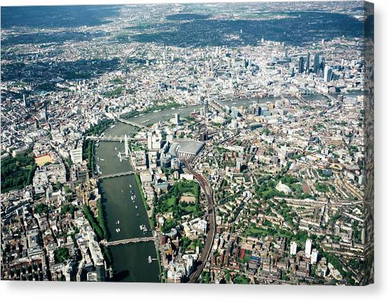 Aerial View Of London, River Thames Canvas Print by Urbancow