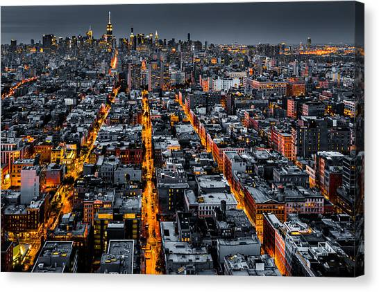 Aerial View Of New York City At Night Canvas Print