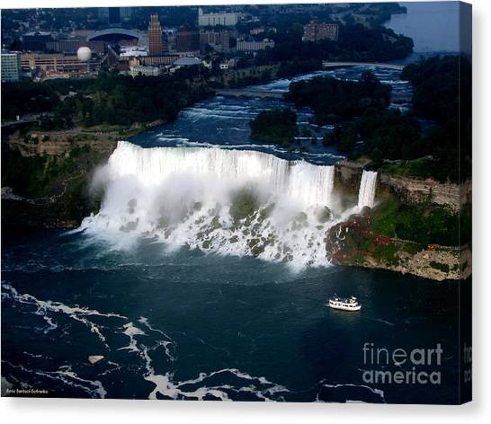 Canvas Print featuring the photograph Aerial View Of Niagara Falls And River And Maid Of The Mist by Rose Santuci-Sofranko
