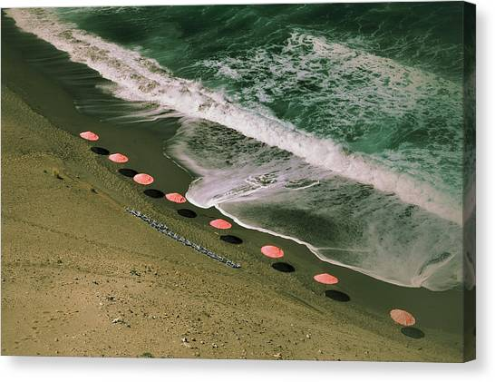 Aerial View Of Parasols On Beach With Canvas Print