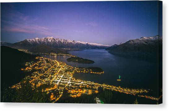 Aerial View Of Queenstown Cityscape At Night, New Zealand Canvas Print by Lingxiao Xie