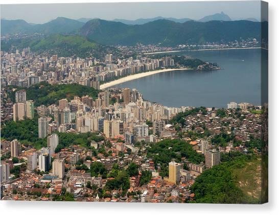 Rio De Janeiro Skyline Canvas Print - Aerial View Of Rio De Janeiro, Brazil by Keren Su