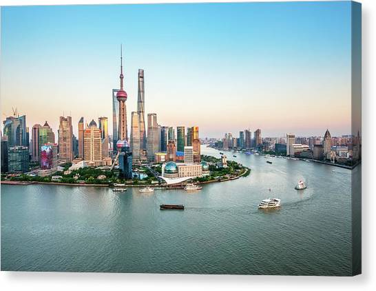 Aerial View Of Shanghai Canvas Print by Fei Yang