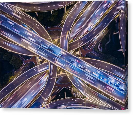 Aerial View Of Shanghai Highway At Night Canvas Print by Ansonmiao