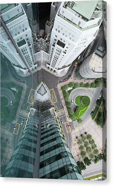 Aerial View Of Singaores Financial Canvas Print by Andrew Tb Tan