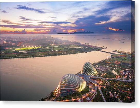 Aerial View Of Singapore With Sunset Canvas Print by Loveguli