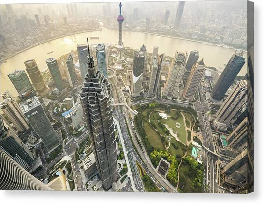 Aerial View Of Skyscrapers In Shanghai Canvas Print by Yongyuan Dai