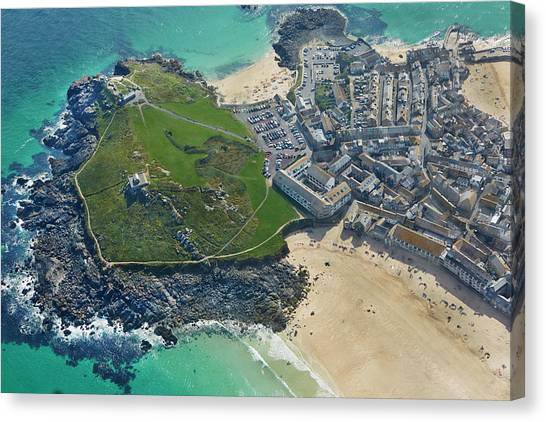 St Ives Canvas Print - Aerial View Of St Ives by Allan Baxter