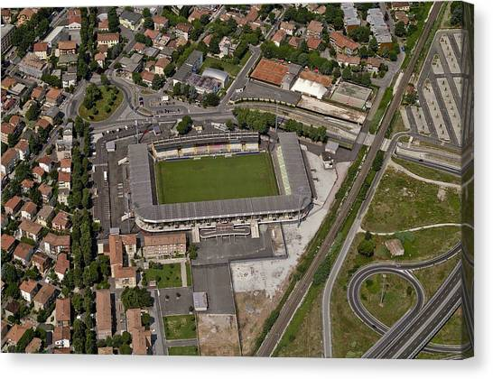 Serie A Canvas Print - Aerial View Of Stadio Dino Manuzzi by Blom ASA