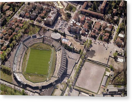 Serie A Canvas Print - Aerial View Of Stadio Mario Rigamonti by Blom ASA