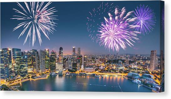 Aerial View Of The Singapore Skyline Canvas Print by Franckreporter