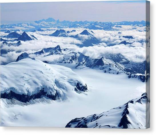 Aerial View Of The Southern Alps Of New Canvas Print by Thierrylevenq