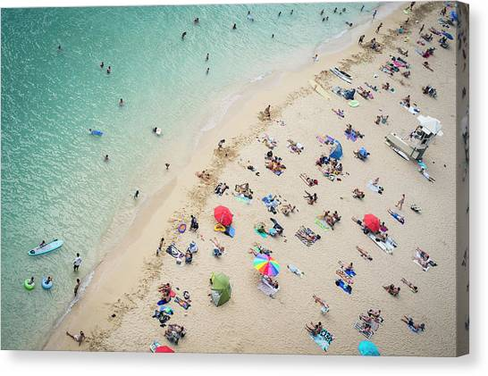 Aerial View Of Tourists On Beach Canvas Print