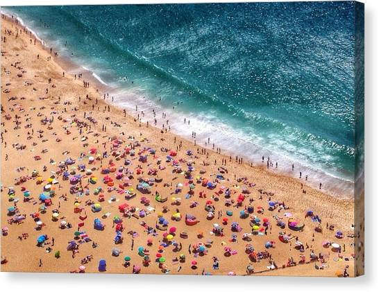 Aerial View Of Tourists On Beach Canvas Print by Dario Cingolani / Eyeem