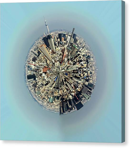 Aerial View Of Urban Landscape Of Tokyo Canvas Print by Photography By Zhangxun