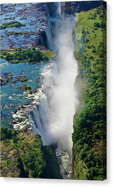 Victoria Falls Canvas Print - Aerial View Of Victoria Falls by Miva Stock