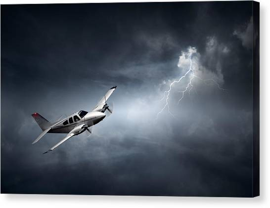 Flight Canvas Print - Risk - Aeroplane In Thunderstorm by Johan Swanepoel