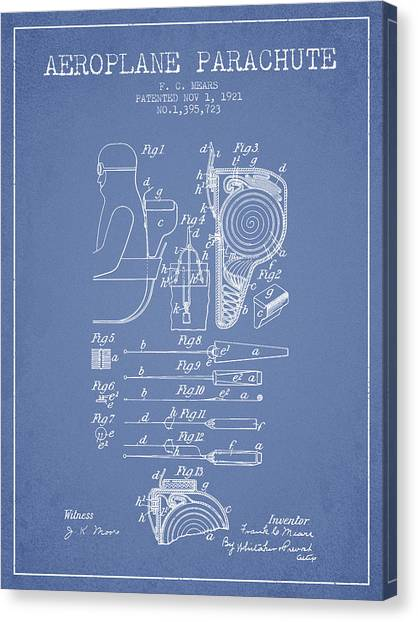 Skydiving Canvas Print - Aeroplane Parachute Patent From 1921 - Light Blue by Aged Pixel