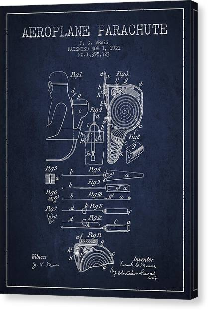 Skydiving Canvas Print - Aeroplane Parachute Patent From 1921 - Navy Blue by Aged Pixel