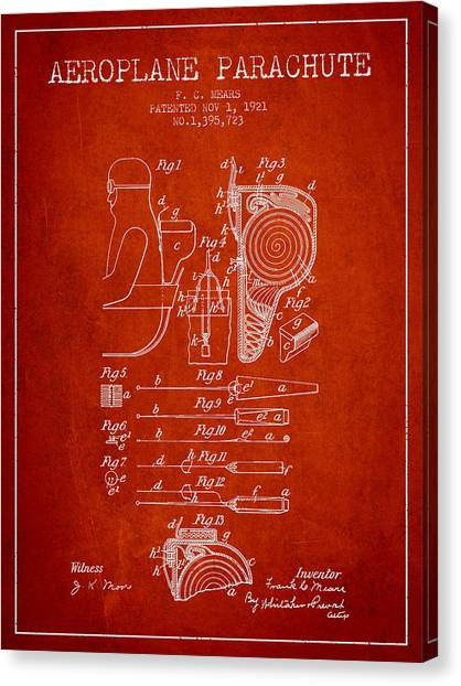 Paratroopers Canvas Print - Aeroplane Parachute Patent From 1921 - Red by Aged Pixel