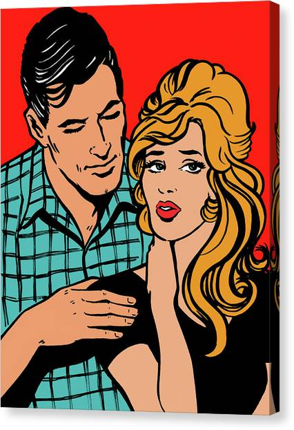 Affectionate Boyfriend Comforting Canvas Print by Jacquie Boyd