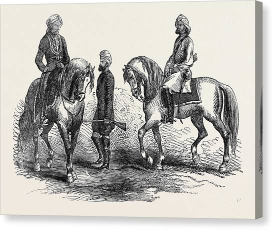Sikh Art Canvas Print - Affghan Native Officer 5th P.c. Left Sikh Trooper 5th P by English School