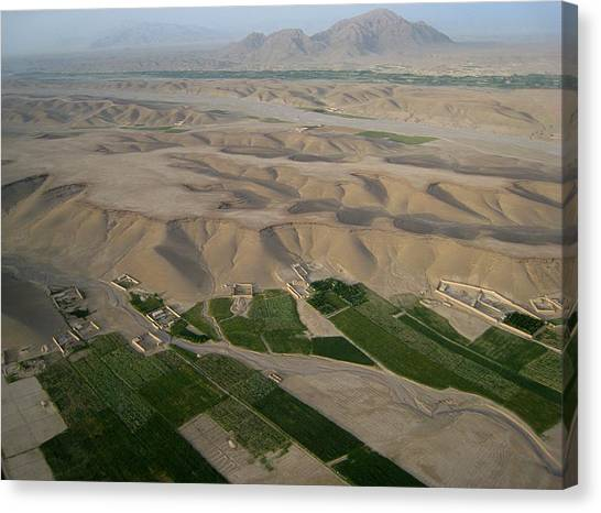 Afghan Village From The Air In Helmand Province Canvas Print