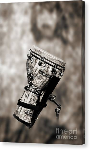 Djembe Canvas Print - Africa Culture Drum Djembe In Sepia 3236.01 by M K  Miller