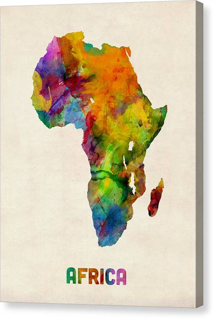 South Africa Canvas Print - Africa Watercolor Map by Michael Tompsett