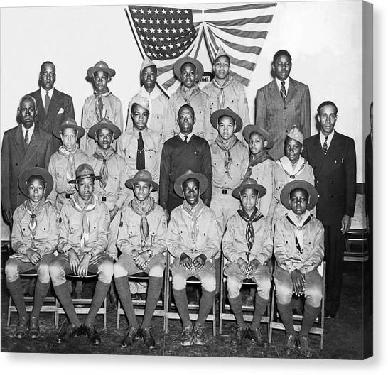 Scouting Canvas Print - African American Boy Scouts by Underwood Archives