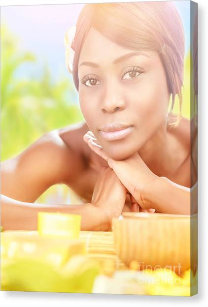 African Resort Canvas Print - African Female In Spa by Anna Om