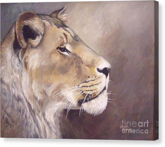 African Lioness On Alert Canvas Print