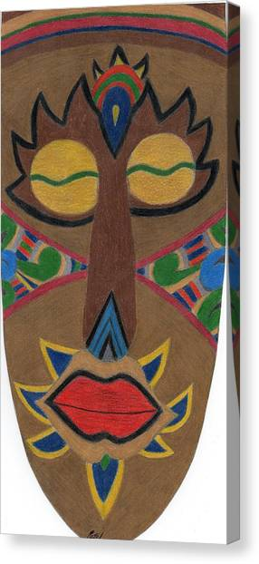 African Mask Canvas Print by Bav Patel
