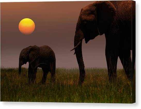 African Mother Elephant And Baby - Canvas Print by 1001slide