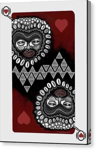 African Queen-of-hearts Card Canvas Print