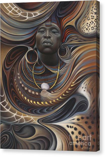 Brown Canvas Print - African Spirits I by Ricardo Chavez-Mendez