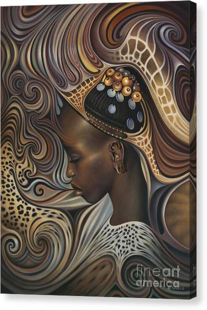 Brown Canvas Print - African Spirits II by Ricardo Chavez-Mendez