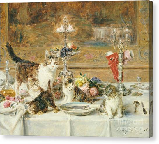 Dinner Table Canvas Print - After Dinner Guests by Louis Eugene Lambert